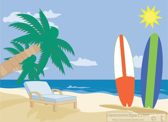 Surfboard in the sand clipart