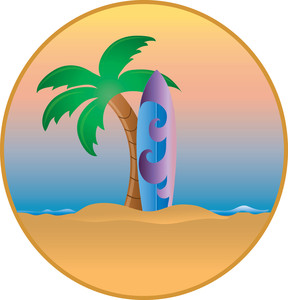 Surfboard in the sand clipart vector free Surfboard and Palm Tree on an Island Paradise | Weather Clipart vector free