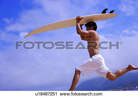 Surfboard on head clipart vector free download Stock Photography of Young man carrying surfboard on head and ... vector free download