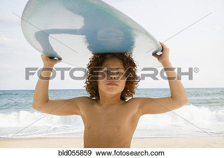Surfboard on head clipart clipart black and white stock Stock Photograph of Mixed Race boy carrying surfboard on head ... clipart black and white stock