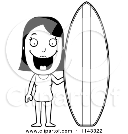 Surfboard outline clip art banner transparent download Cartoon Clipart Of A Black And White Summer Woman With A Surfboard ... banner transparent download
