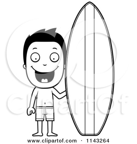 Surfboard outline clip art vector free library Cartoon Clipart Of A Black And White Summer Grandpa Wearing Swim ... vector free library