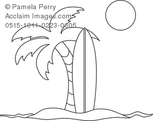 Surfboard outline clipart clip art library stock Clip Art Image of a Coloring Page of a Surfboard in the Sand With ... clip art library stock