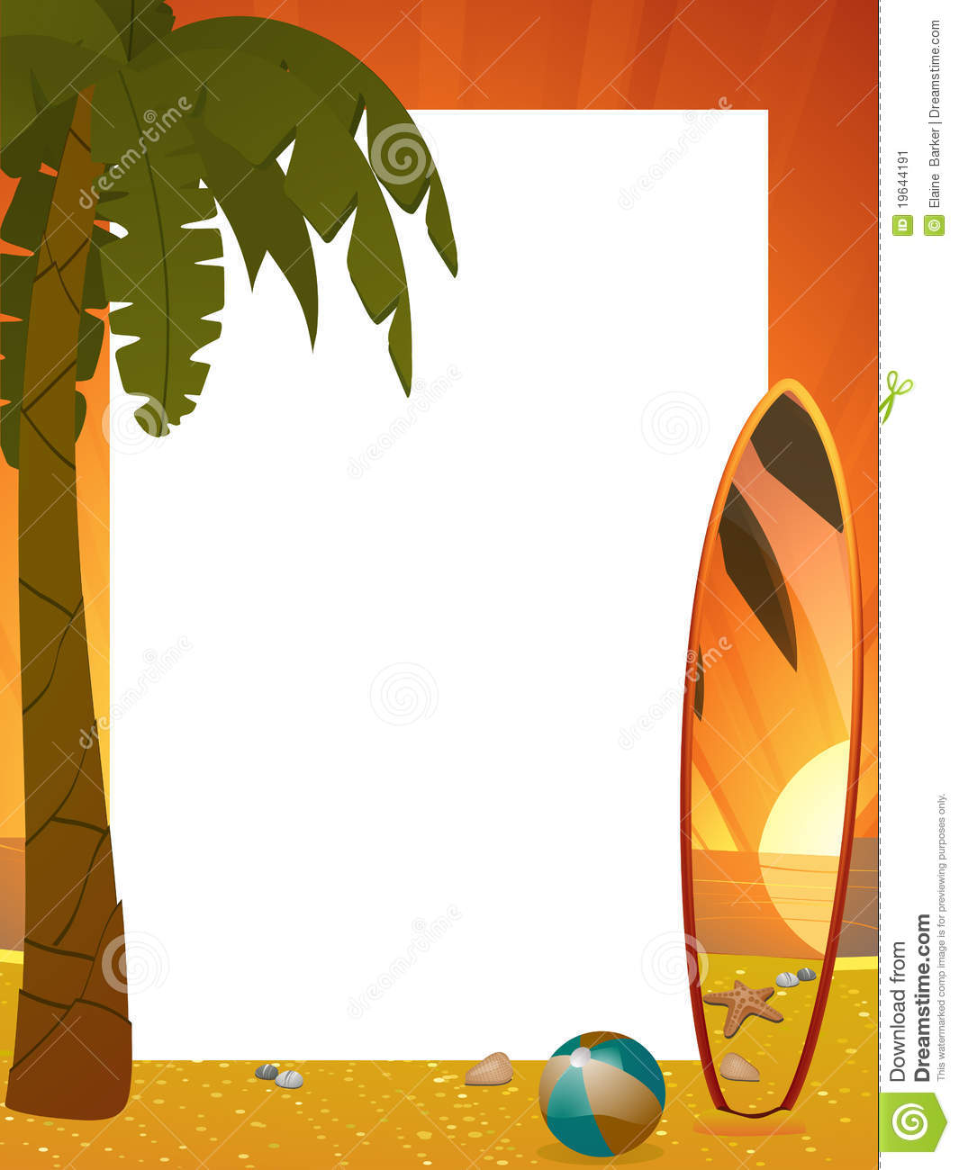 Surfboard palm tree clipart jpg free Summer Sunset Border With Palm Tree And Surfboard Stock Image ... jpg free