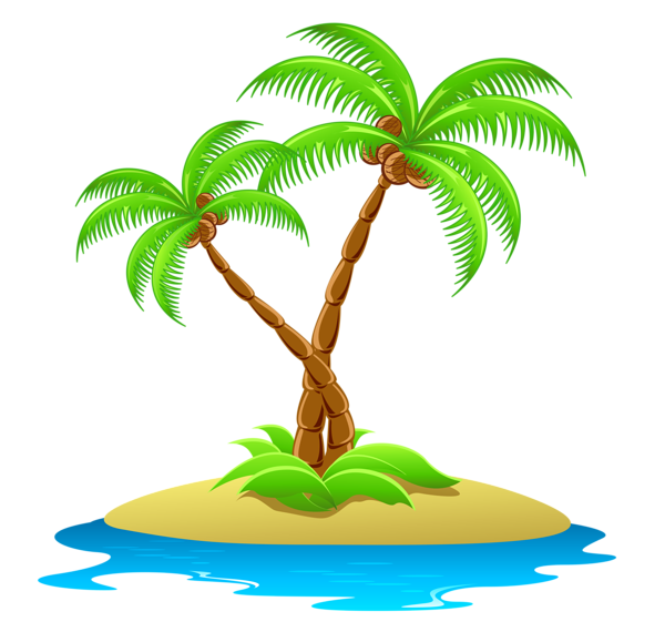 Palm tree with coconuts clipart jpg free download Island with Palm Trees Transparent Clipart | Floral and swoshes ... jpg free download