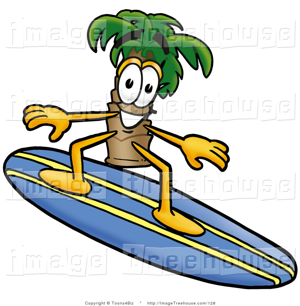 Surfboard palm tree clipart svg transparent Clipart of a Tropical Palm Tree Mascot Cartoon Character Surfing ... svg transparent