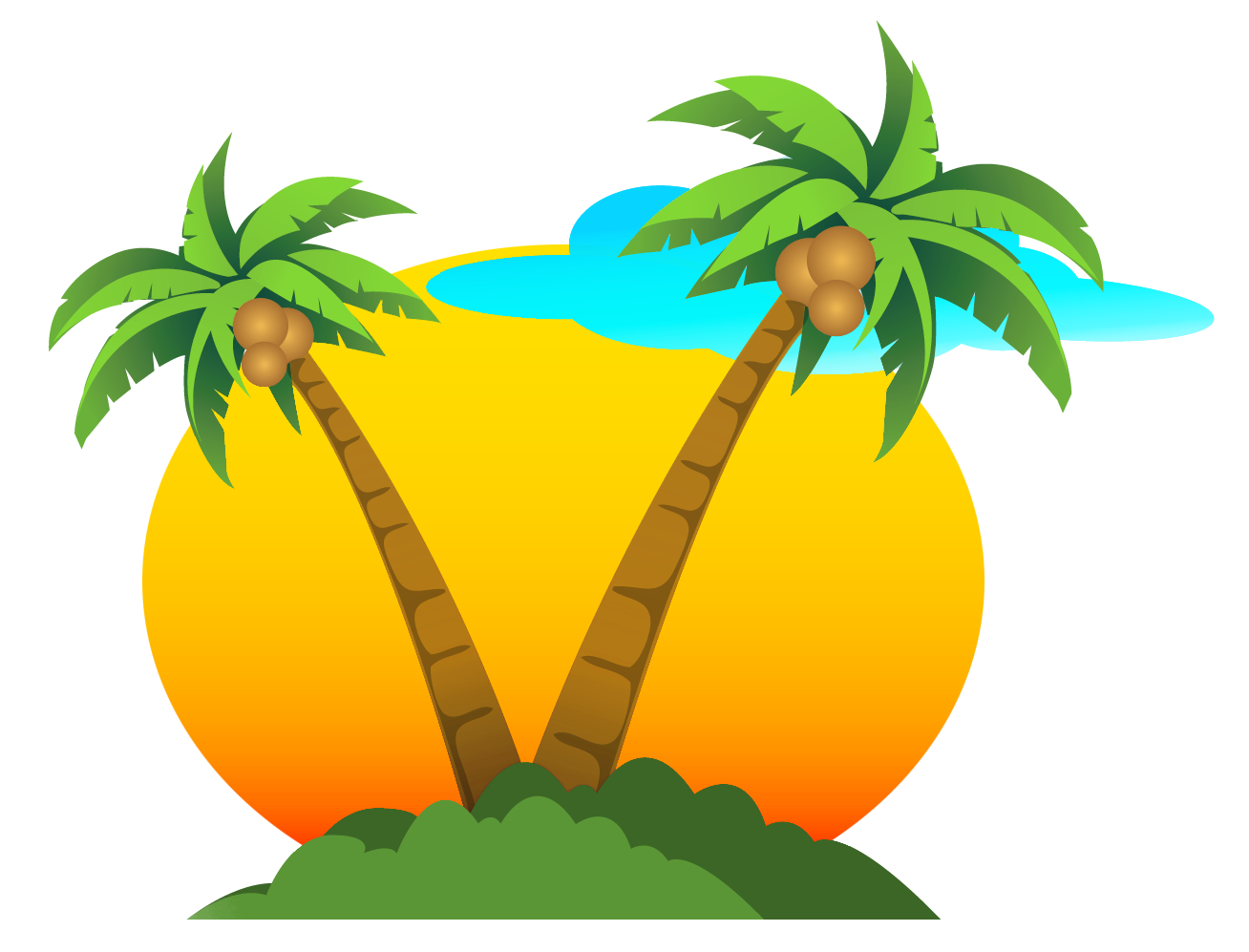 Sun looking over ocean clipart picture black and white library Palms and Sun PNG Vector Clipart | Gallery Yopriceville - High ... picture black and white library