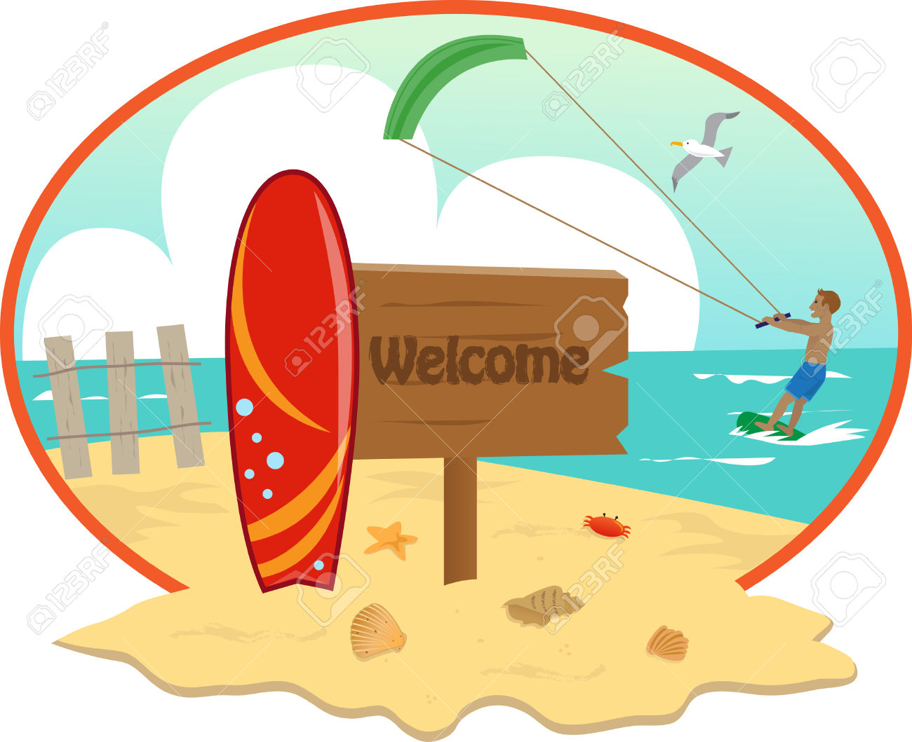 Surfboard signs background clipart clip freeuse Beach - Beach Icon With Welcome Sign And Surfboard In The Front ... clip freeuse