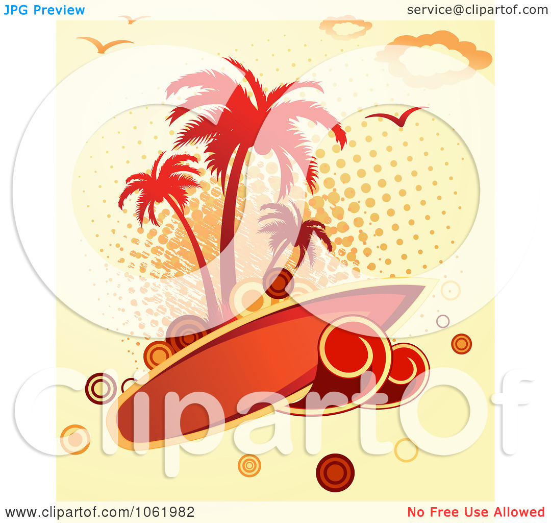Surfboard signs background clipart svg transparent stock Clipart Palm Tree Island And Surfboard Background - Royalty Free ... svg transparent stock
