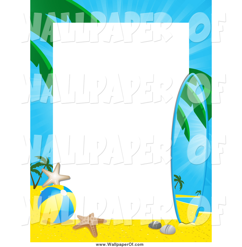 Surfer border clipart clipart stock Wallpaper of a Border of a Tropical Beach and Surf Board ... clipart stock