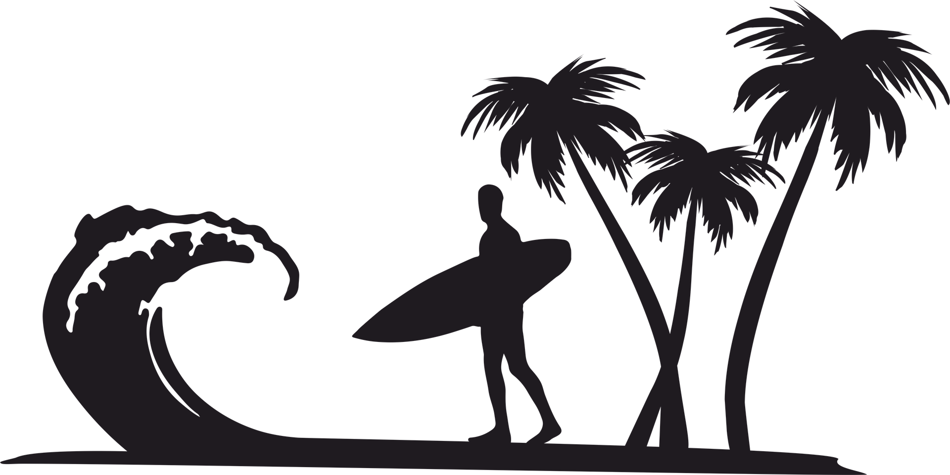 Surfer clipart png svg black and white library Clip art Openclipart Surfing Palm trees Desktop Wallpaper ... svg black and white library