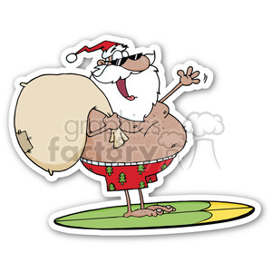 Surfing santa clipart royalty free surfing santa sticker clipart. Royalty-free clipart # 400354 royalty free