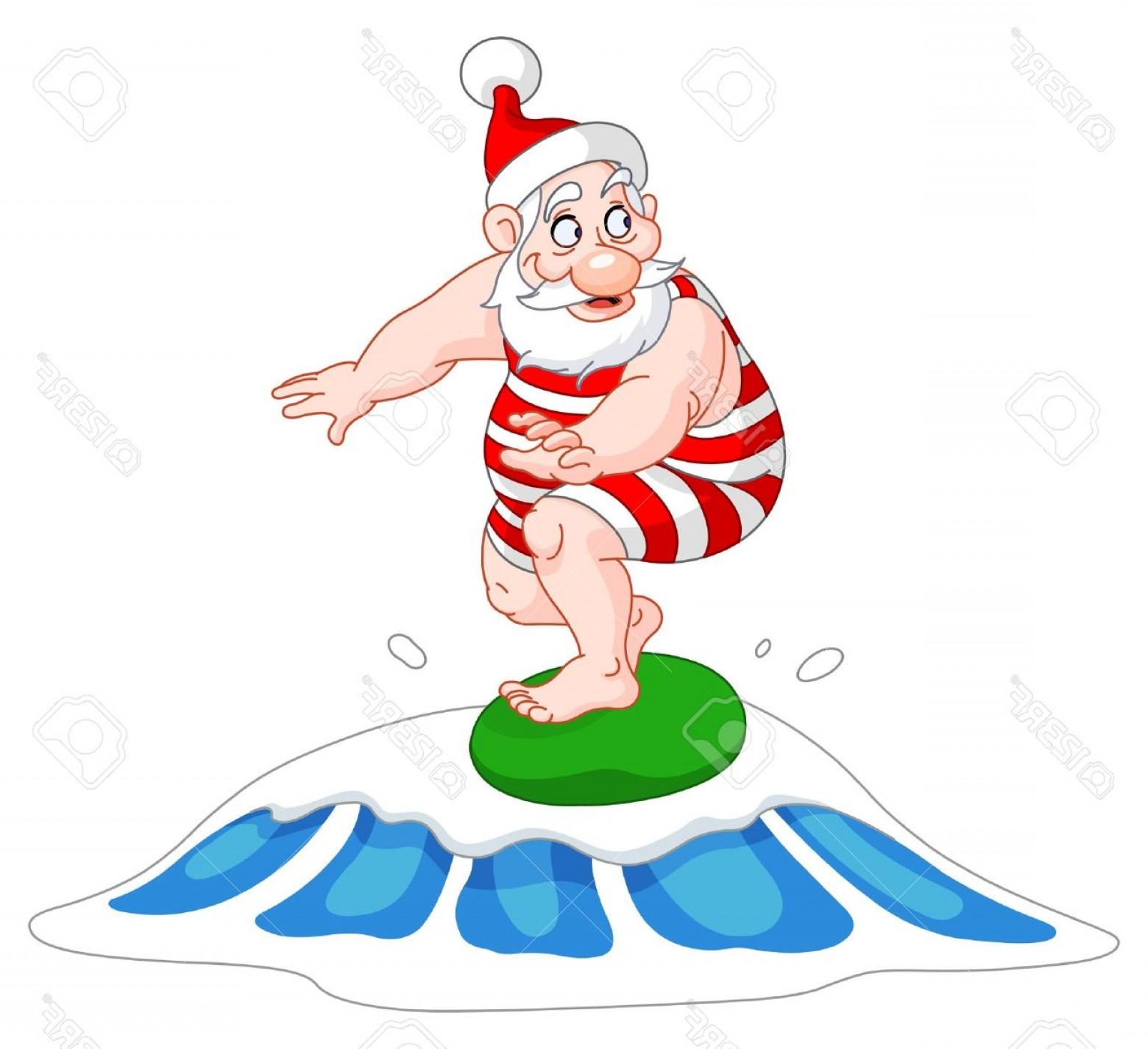 Surfing santa clipart transparent Surf Santa In Swimsuit Clipart Free | SOIDERGI transparent