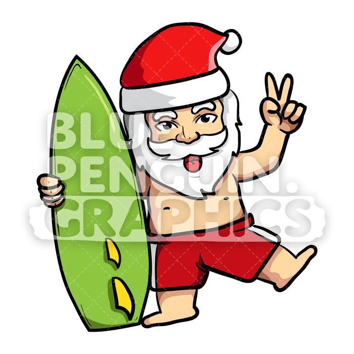 Surfing santa clipart clip art free library Summer Santa Hugging Surfing Board Vector Cartoon Clipart clip art free library