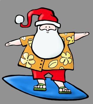 Surfing santa clipart jpg royalty free download Tropical Surfing Santa Clip Art jpg royalty free download
