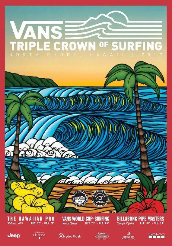 Surfing turtle new years clipart png transparent library 2017 VANS Triple Crown of Surfing Print - Surfing Poster ... png transparent library