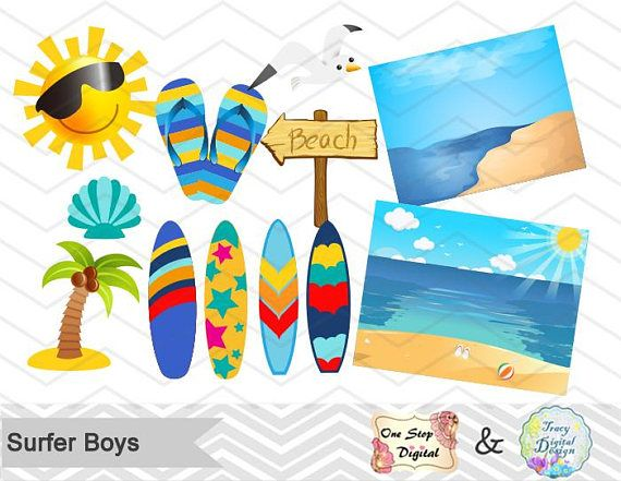 Surf-s up clipart clip art library download Digital Surfer Boy Clip Art Instant Download Surfing Boy ... clip art library download