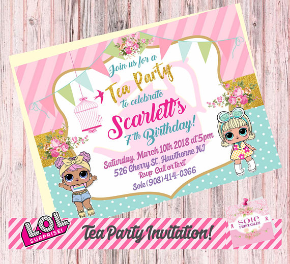 Surprise birthday openhouse clipart svg library stock New! L.O.L Surprise Tea Party Theme: – Birthday Invitation ... svg library stock