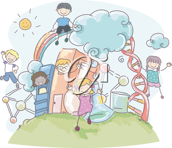 Surrounded clipart transparent library Doodle Illustration of Stickman Kids Surrounded by Science ... transparent library