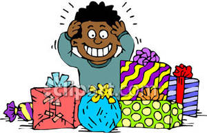 Surrounded clipart png royalty free library Boy Surrounded By Gifts - Royalty Free Clipart Picture png royalty free library