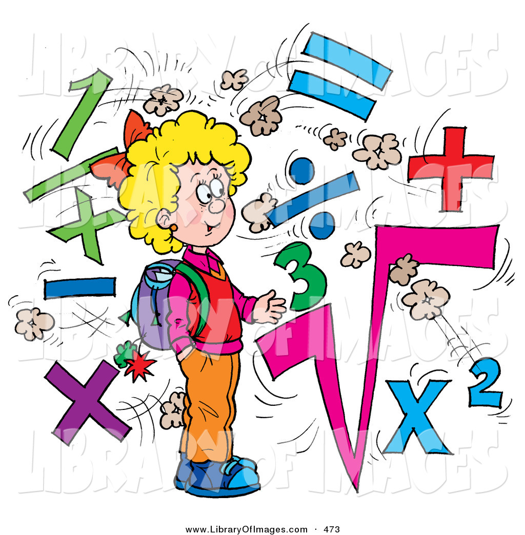 Surrounded clipart jpg library stock Clip Art of a Clever School Girl Surrounded by Math Symbols ... jpg library stock