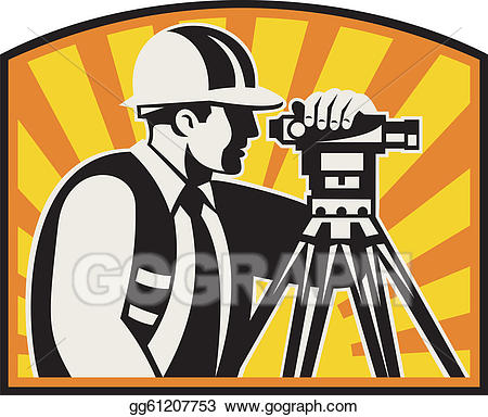 Surveyor clipart equipment total station clip royalty free library Vector Illustration - Surveyor engineer theodolite total ... clip royalty free library