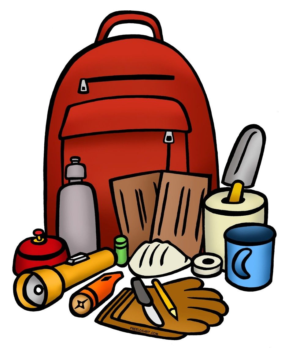 Survival items clipart clip art library stock Evacuating your home 101, Box 1 - The 72-hour kit | survival ... clip art library stock