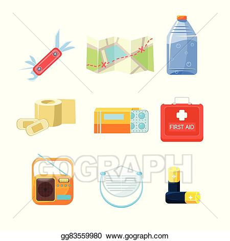Survival items clipart picture transparent download EPS Vector - Survival emergency kit for evacuation, items ... picture transparent download