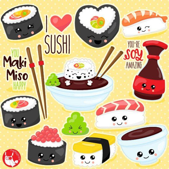 Sushi cake clipart jpg library download BUY20GET10 - Kawaii sushi clipart commercial use, vector ... jpg library download