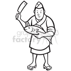 Sushi chef clipart banner library black and white japanese sushi chef fish knife clipart. Royalty-free  clipart # 388201 banner library