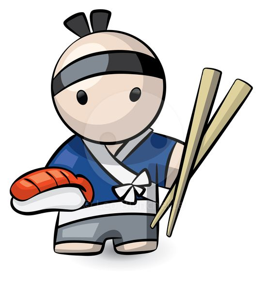 Sushi chef clipart clip art transparent library ClipArt Illustration Japanese Sushi Chef Holding Pair of ... clip art transparent library
