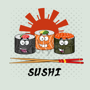 Sushi roll clipart with chopsticks image freeuse library illustration sushi roll set cartoon characters with chopsticks and text  vector illustration with background clipart. Royalty-free clipart # 399417 image freeuse library
