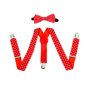 Suspenders and bow tie clipart image freeuse download Details about Red Polka Dot Suspender and Bow Tie Baby Toddler Kids Boys  Girls Combo Set image freeuse download