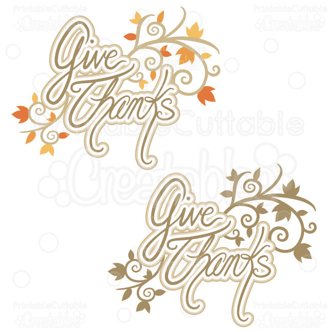 Svg cutting license for clipart graphic Give Thanks Title SVG Cutting File graphic