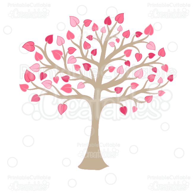 Svg tree clipart picture free Valentine's Heart Tree Clipart and SVG Cut Files picture free
