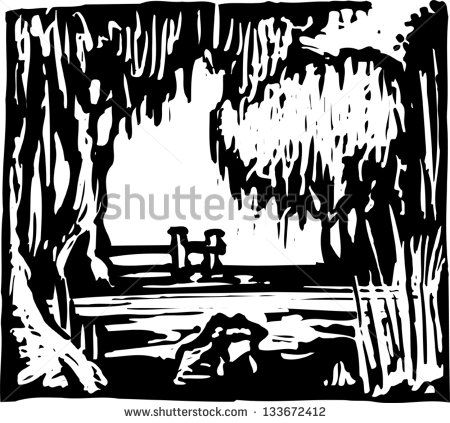 Swamp black and white clipart clipart transparent library Black and white vector illustration of swamp | Designs ... clipart transparent library