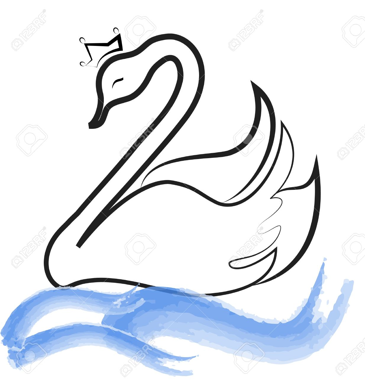 Swan lake black and white free clipart png freeuse stock Swan Clipart Black And White | Free download best Swan ... png freeuse stock