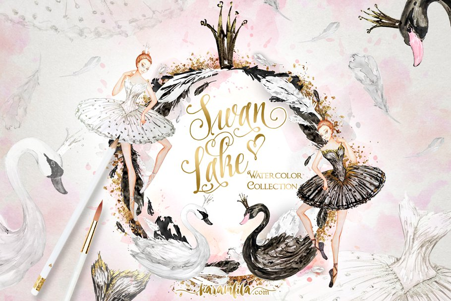 Swan lake black and white free clipart banner library stock Watercolor Swan Lake ~ Illustrations ~ Creative Market banner library stock