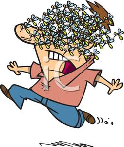 Swarm clipart png transparent download A Colorful Cartoon of a Man Fleeing From a Swarm of Bees ... png transparent download