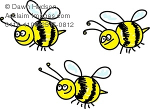 Swarm clipart clip black and white download Clipart Image of A Swarm Of Cartoon Bumble Bees With Smiling ... clip black and white download