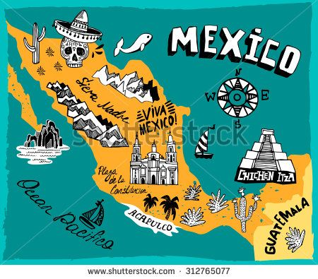 Sweedish and mexican baby clipart clip art transparent Illustrated map of Mexico with the main attractions | Flags ... clip art transparent