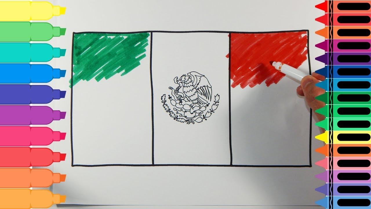 Sweedish and mexican baby clipart vector black and white How to Draw Mexico Flag - Drawing the Mexican Flag - Art Colors for Kids |  Tanimated Toys vector black and white