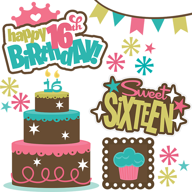 Sweet 16 crown clipart jpg free download Happy 16th Birthday!-Girl - SVG files for scrapbooking   Cuttable ... jpg free download