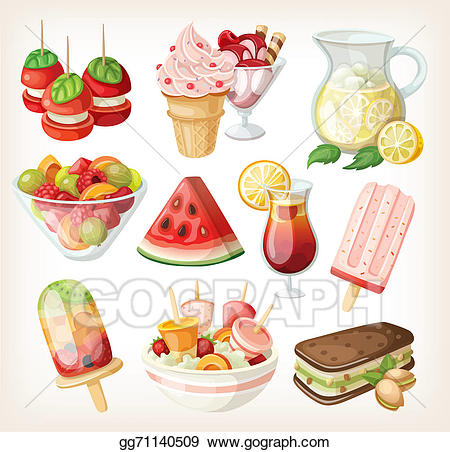 Sweet foods clipart banner freeuse stock Stock Illustrations - Set of cold sweet summer food. Stock ... banner freeuse stock