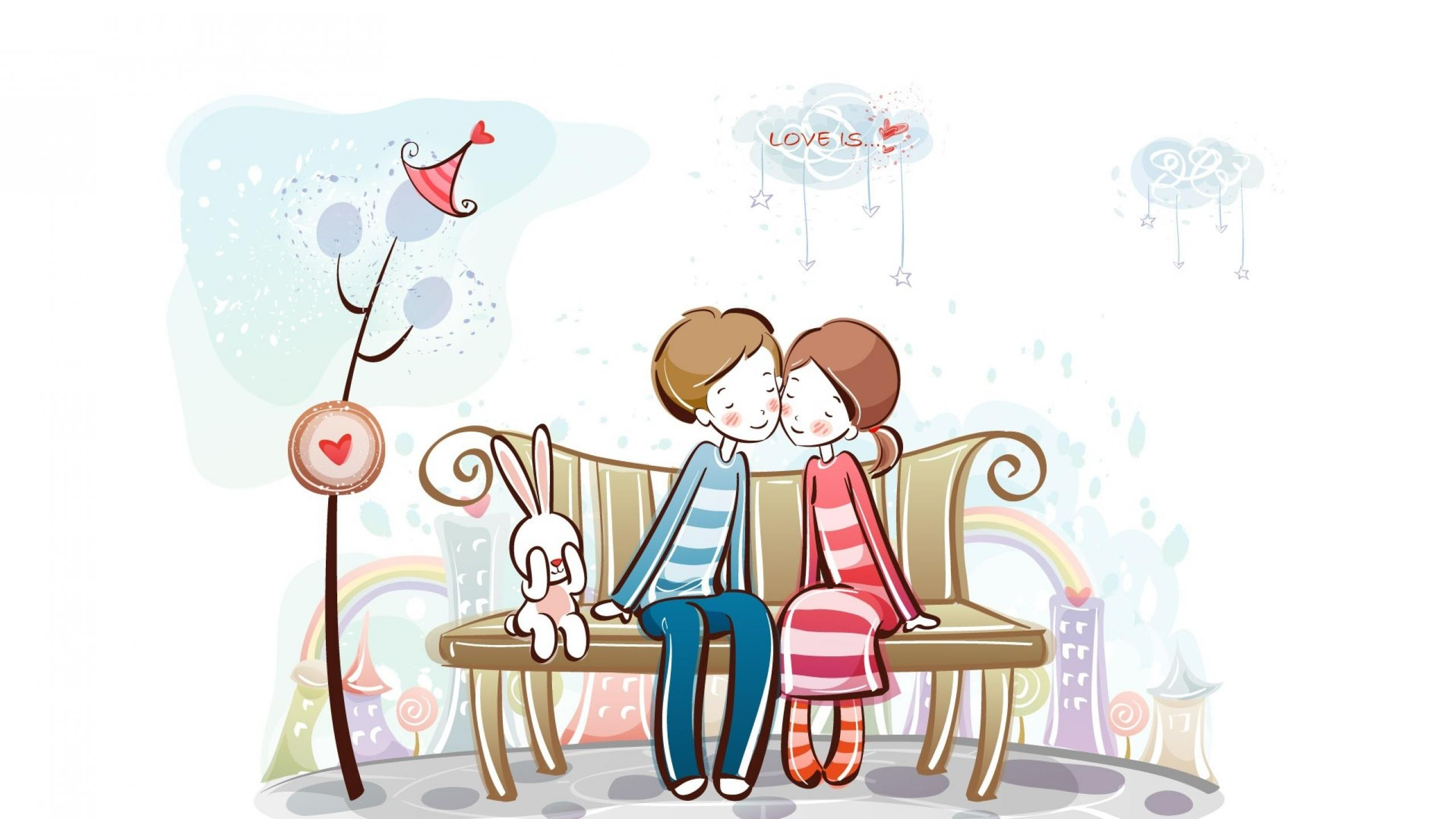 Sweet love clipart image free Free Cute Cartoon Love Couple Wallpaper, Download Free Clip ... image free