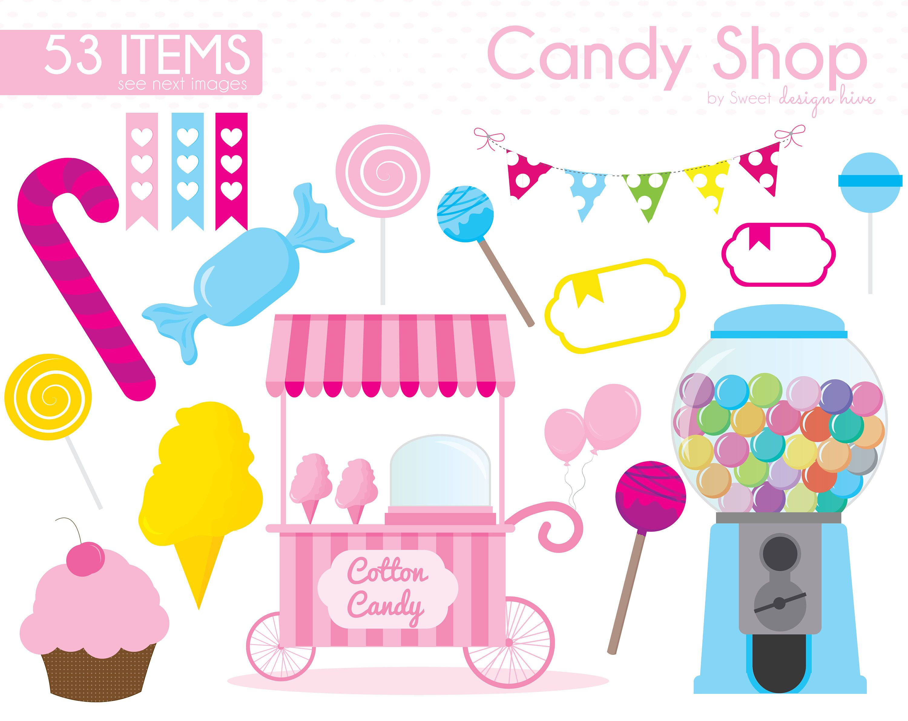 Sweet shop clipart logo free library Candy Clipart, Candy Shop clipart, Lollipop Clipart, Sweet ... free library