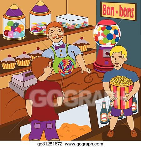 Sweet shop clipart logo png royalty free library EPS Illustration - Inside candy shop. Vector Clipart ... png royalty free library