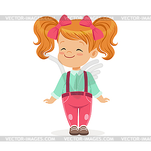 Sweet smile clipart jpg black and white stock Sweet smiling little redhead girl in casual - vector clipart jpg black and white stock