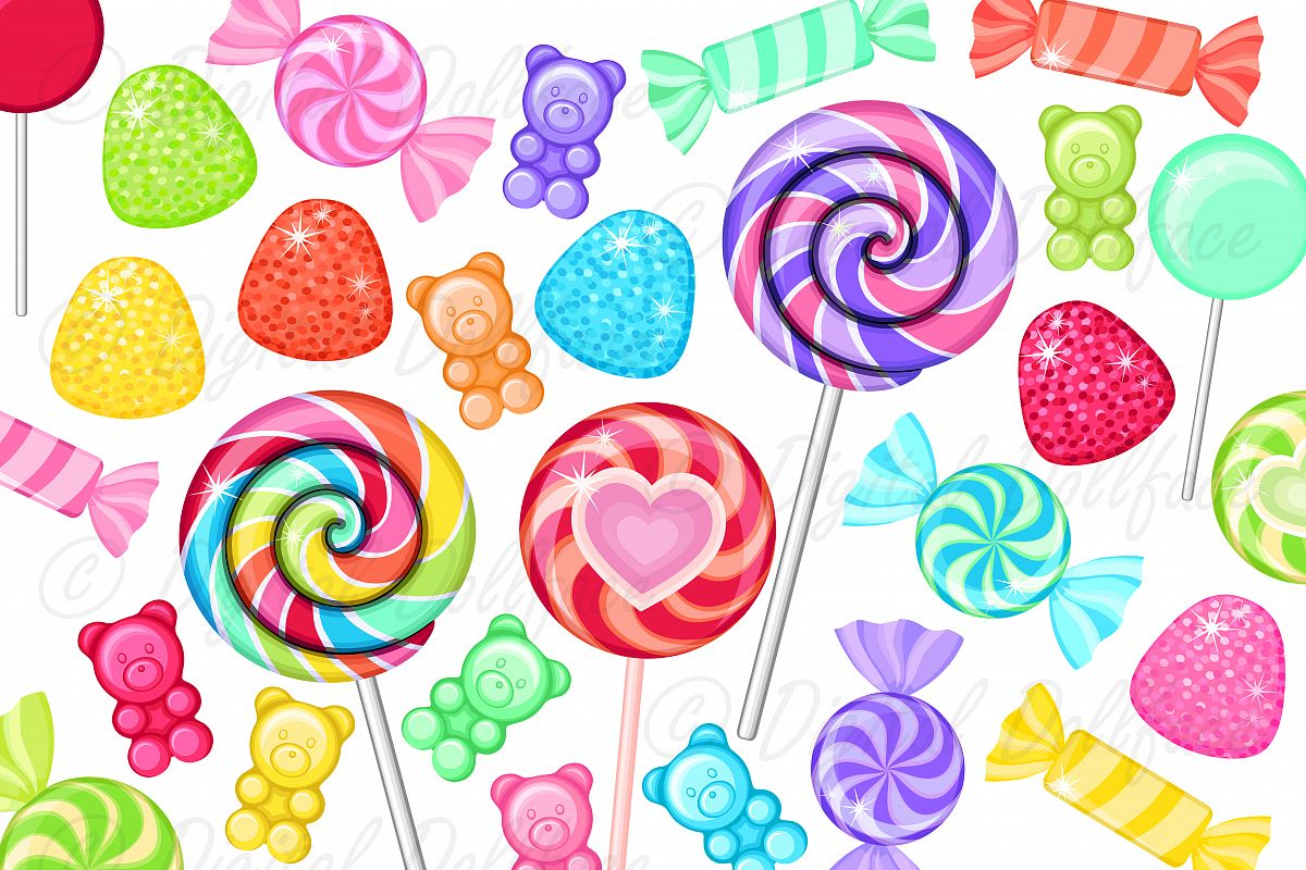 Sweet sugar clipart clipart transparent Colorful Candy Clip Art, Rainbow Sweet Treats, Junk Food, Sugar Graphics clipart transparent