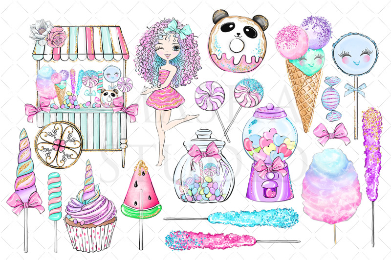 Sweet sugar clipart banner freeuse download SWEET SUGAR CANDY LAND Clipart By MASHA STUDIO ... banner freeuse download